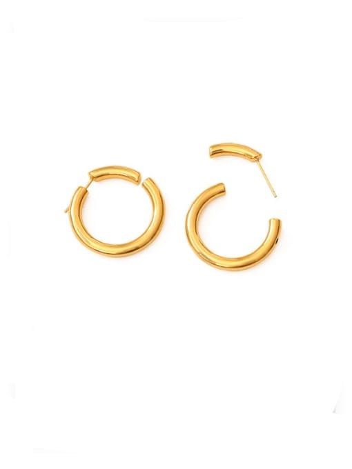 circular Brass Geometric Minimalist Stud Earring
