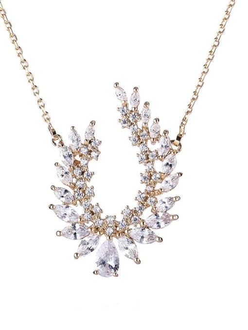 YILLIN Brass Cubic Zirconia Oval Vintage Necklace 3