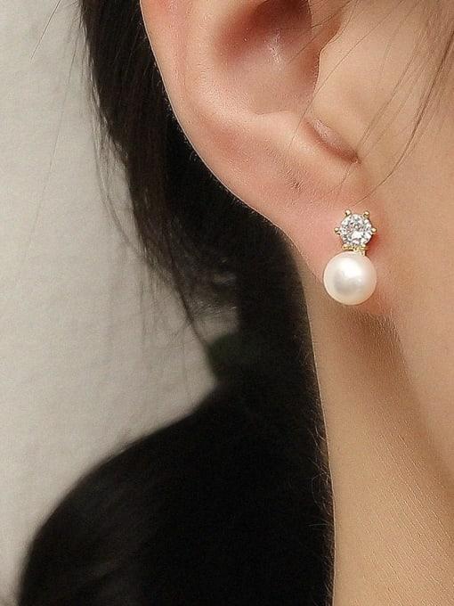 HYACINTH Brass Imitation Pearl Geometric Vintage Stud Trend Korean Fashion Earring 1