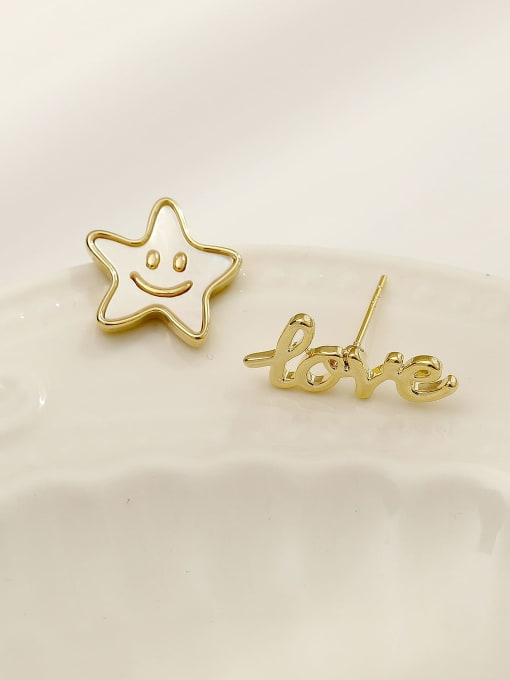HYACINTH Brass Enamel Cute Asymmetrical star letters  Stud Earring