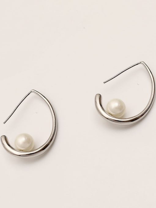 White K Brass Imitation Pearl Water Drop Minimalist Stud Earring