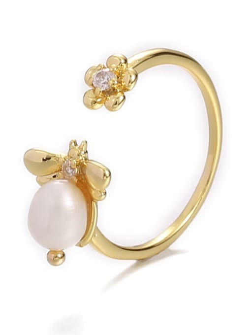 Five Color Brass Imitation Pearl Bee Hip Hop Band Ring 4