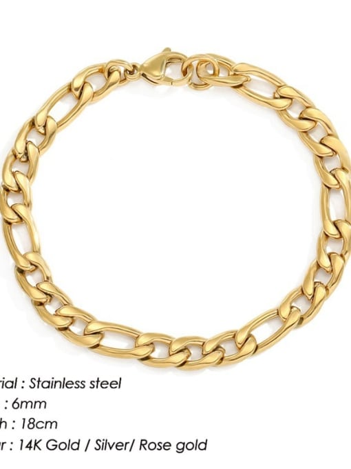 Gold 6mm 18cm Stainless steel Geometric Minimalist Link Bracelet