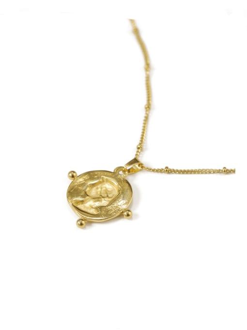 ACCA Brass Geometric Vintage Vintage portrait pendant Necklace 2