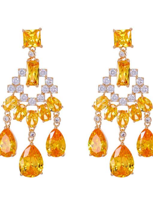 yellow Brass Cubic Zirconia Tassel Luxury Drop Earring