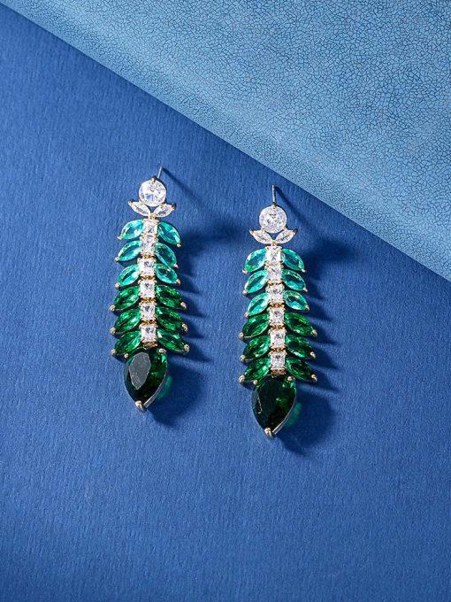 OUOU Brass Cubic Zirconia Leaf Luxury Drop Earring 2