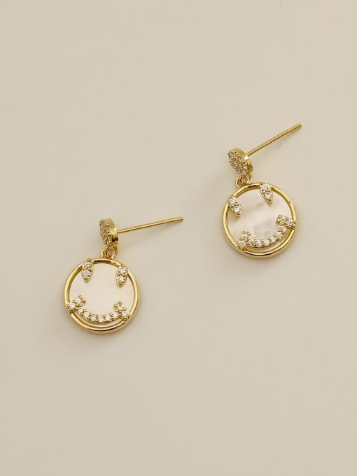 HYACINTH Brass Shell Face Vintage Drop Earring 3