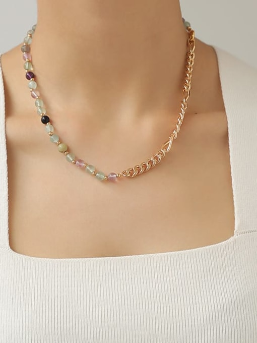 TINGS Brass Freshwater Pearl   Natural stone Hip Hop Necklace 2