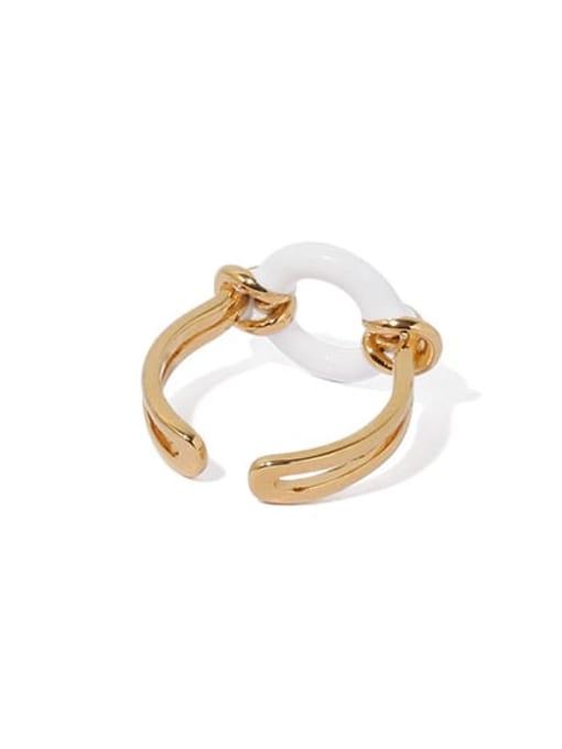 ACCA Brass Enamel Geometric Hip Hop Band Ring 2