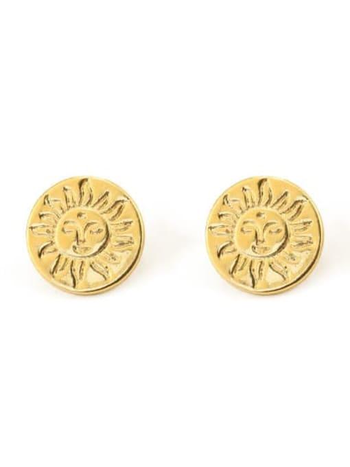 Sun stud Brass Round Vintage Stud Earring