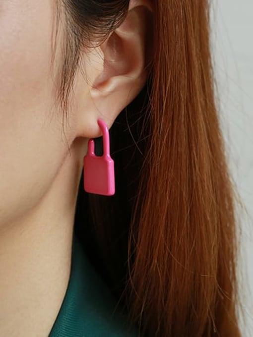 Pink Single Zinc Alloy Enamel Locket Minimalist Single Earring