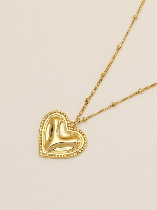 14k gold Brass Smooth Heart Vintage  Pendant Necklace
