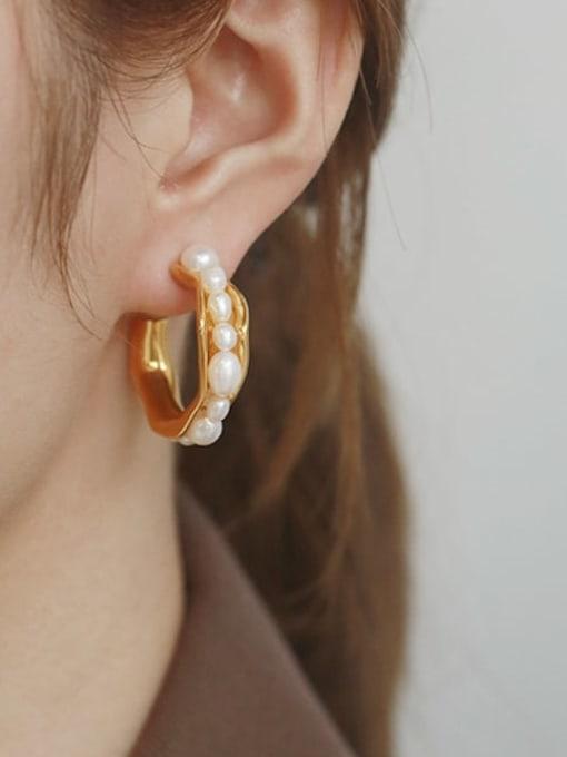 TINGS Brass Imitation Pearl Vintage  C shape Stud Earring 1