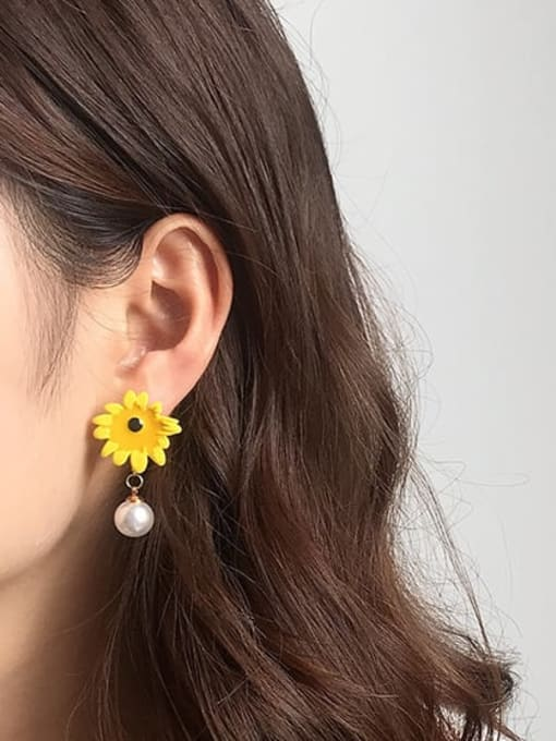 Five Color Alloy Imitation Pearl Enamel Flower Cute Stud Earring 2