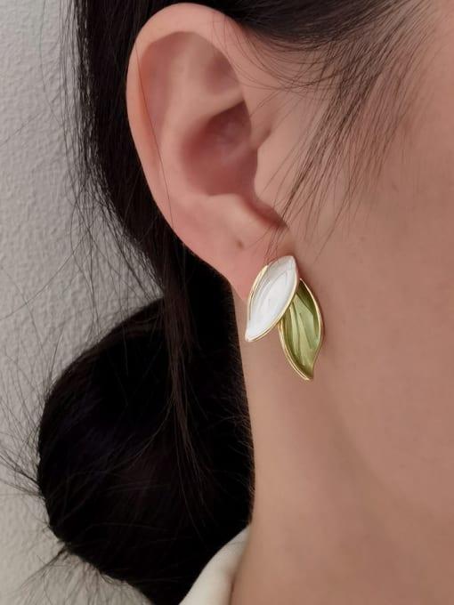 HYACINTH Brass Enamel Tree Minimalist Clip Earring 1