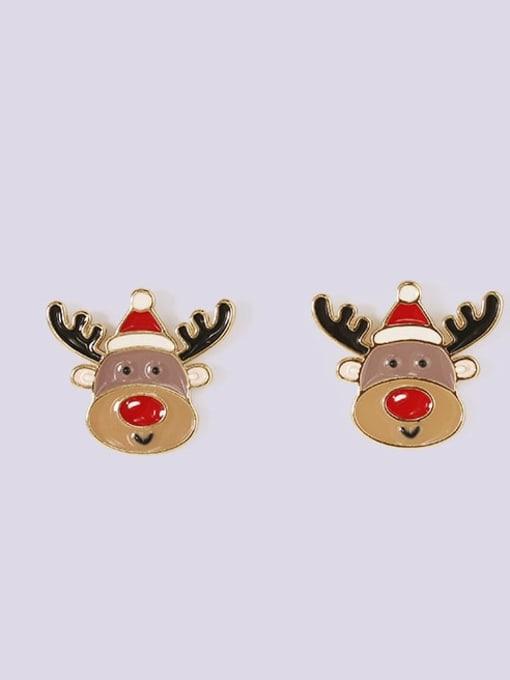 Five Color Alloy Enamel Asymmetry Deer Snowman Cute Stud Earring 1