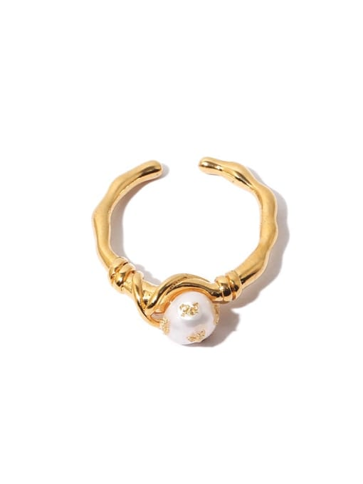 Section 2 Brass Imitation Pearl Irregular Hip Hop Band Ring
