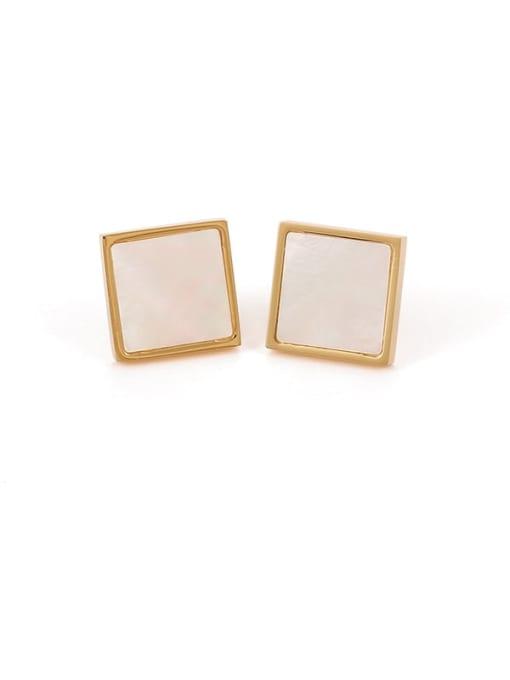 Five Color Brass Shell Geometric Minimalist Stud Earring 0