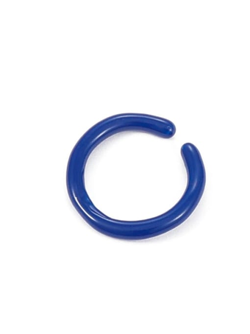 Blue oil drop (slightly adjustable) Zinc Alloy Enamel Geometric Minimalist Band Ring