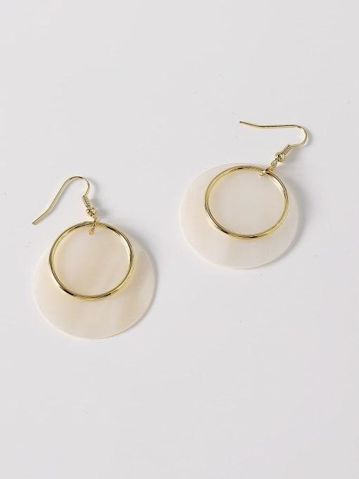 HYACINTH Brass Shell Geometric Minimalist Hook Earring 4