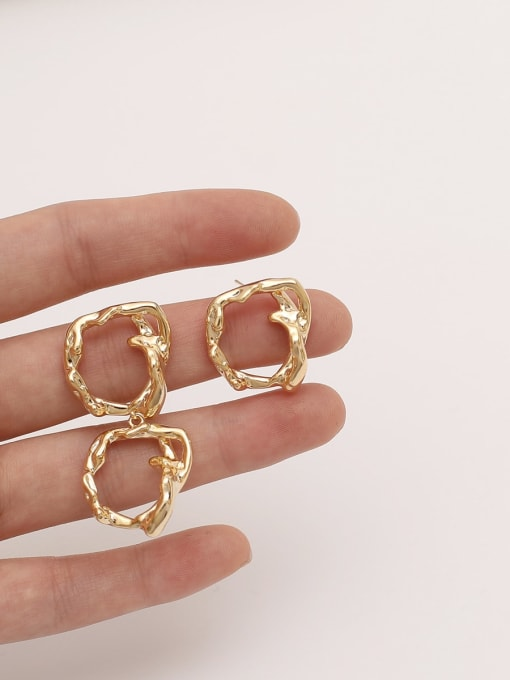 HYACINTH Brass Hollow Geometric Vintage Drop Earring 1