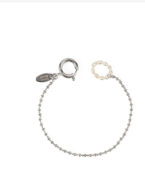 Platinum Brass Bead Geometric Vintage Beaded Bracelet