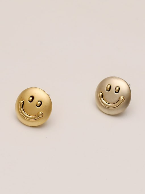 Dumb gold and dumb Silver Brass Smiley Minimalist Stud Earring