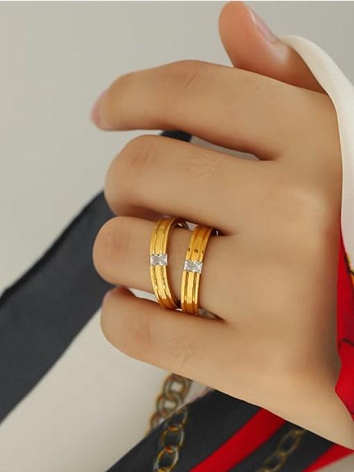 ACCA Brass Cubic Zirconia Round Minimalist Band Ring 1
