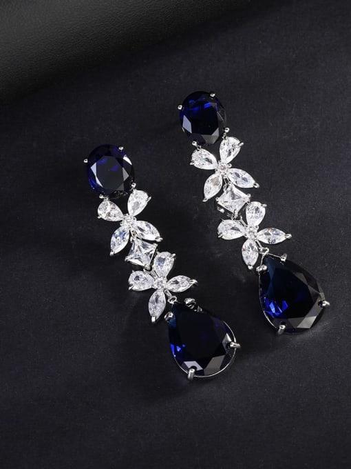OUOU Brass Cubic Zirconia Flower Luxury Drop Earring 4