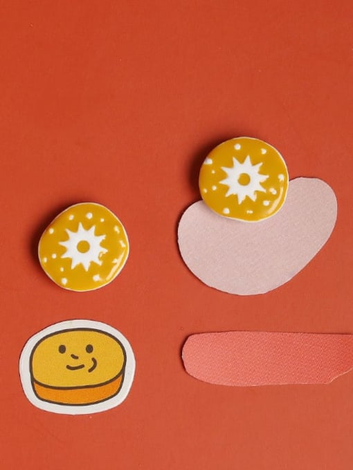 Five Color Alloy Enamel Round Cute Stud Earring