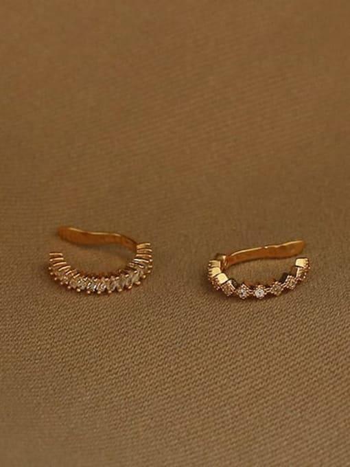 ACCA Brass Cubic Zirconia Geometric Vintage Clip Earring 2