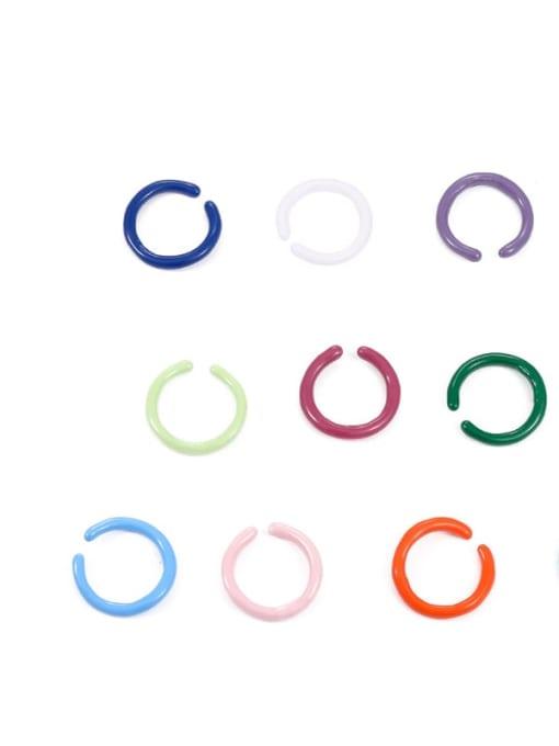 Five Color Zinc Alloy Enamel Geometric Minimalist Band Ring