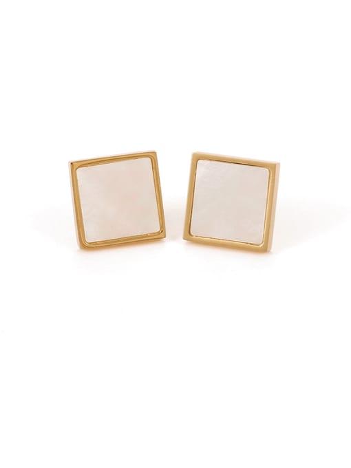 Shell Earrings Brass Shell Geometric Minimalist Stud Earring