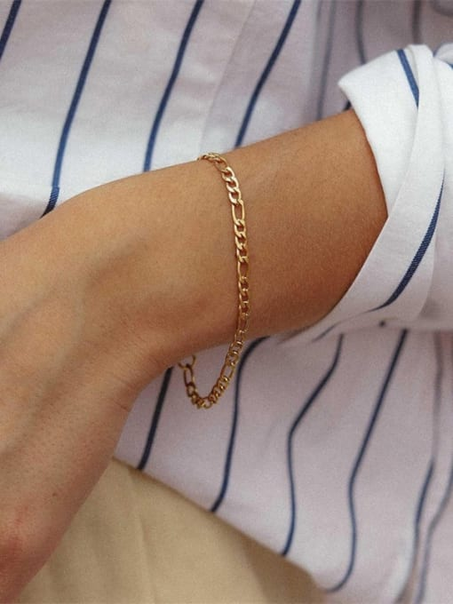 Desoto Stainless steel Geometric Minimalist Link Bracelet 2