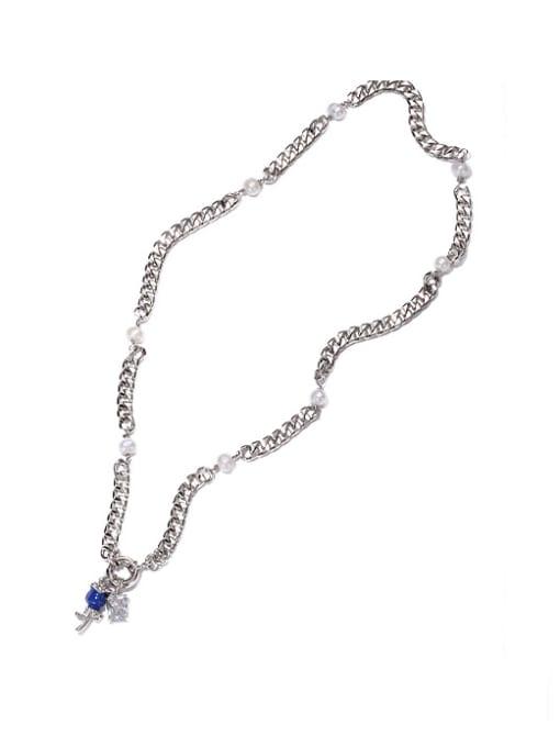 Necklace Brass Cubic Zirconia Rosary Vintage Tassel Necklace