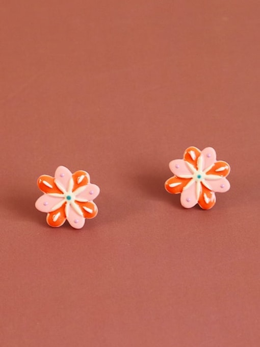 Five Color Alloy Enamel Flower Minimalist Stud Earring 0