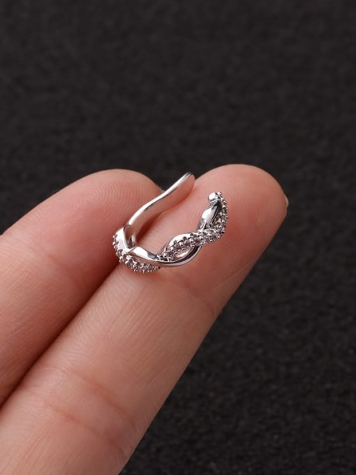 4 Twist Brass Cubic Zirconia Horse Cute Stud Earring