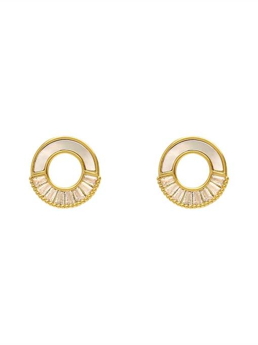 HYACINTH Brass Shell Geometric Minimalist Stud Earring