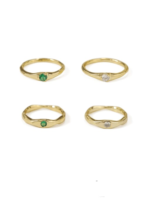 ACCA Brass Cubic Zirconia Geometric Minimalist Band Ring