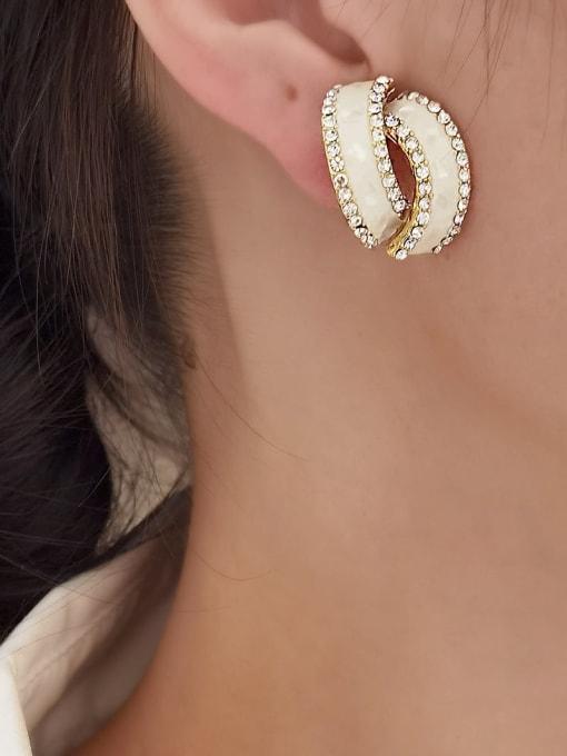 HYACINTH Brass Rhinestone Enamel Geometric Minimalist Stud Earring 1
