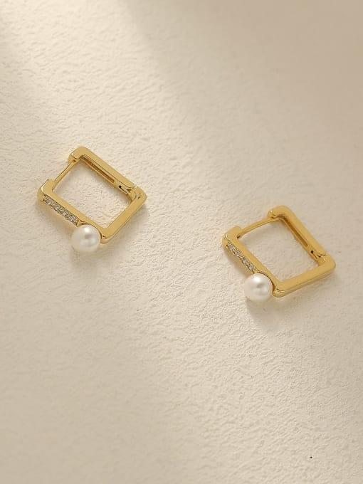 HYACINTH Brass Imitation Pearl Geometric Vintage Stud Trend Korean Fashion Earring 0