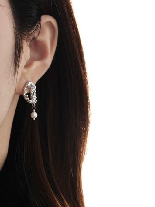 TINGS Brass Imitation Pearl Geometric Vintage Drop Earring 2