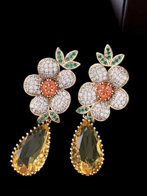 SUUTO Brass Cubic Zirconia Flower Luxury Drop Earring 0
