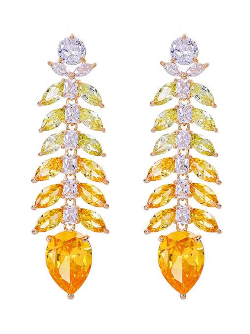 yellow Brass Cubic Zirconia Leaf Luxury Drop Earring