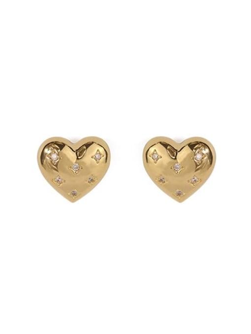 gold Brass Rhinestone Heart Minimalist Stud Earring
