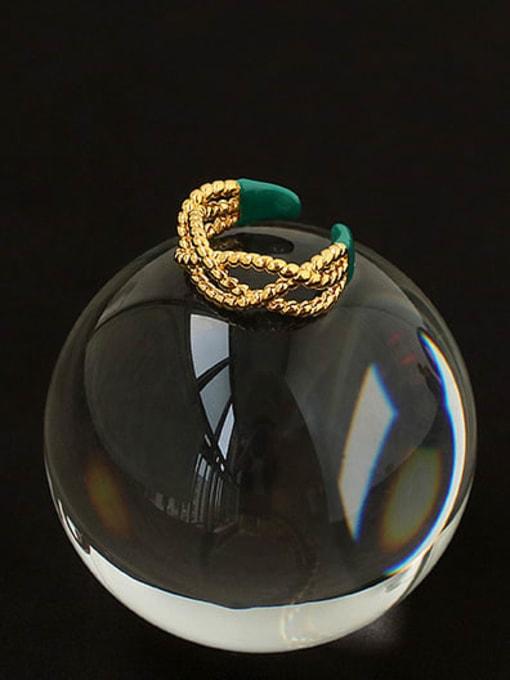 ACCA Brass Enamel Cross Vintage Band Ring 2