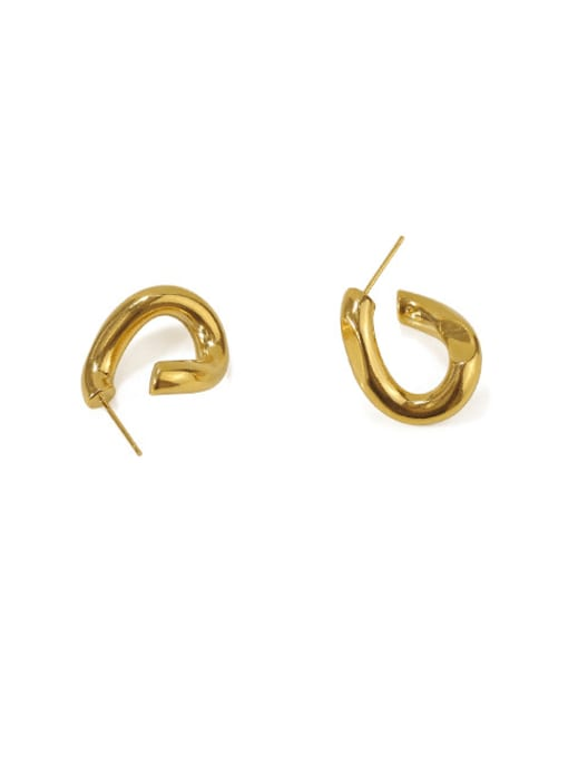 ACCA Brass Heart Minimalist Simple twisted lines Stud Earring 2