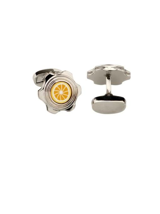 ThreeLink Brass Enamel Friut lemon Vintage Cuff Link