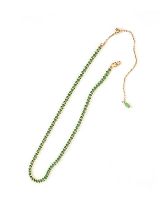 Five Color Brass Cubic Zirconia Geometric Hip Hop Necklace 3