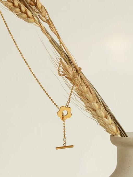 Five Color Titanium Steel Flower Minimalist Beaded Necklace 2